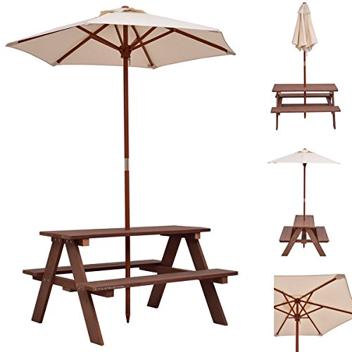 Royal Home Furniture 3 Feet Outdoor Wooden Picnic Table Bench with Foldable Umbrella | Portable Weatherproof Large 4 Seats Sturdy Wood for Children Kids Adult Pub Dining Backyard Garden BBQ (Foldable Wooden Picnic Table)