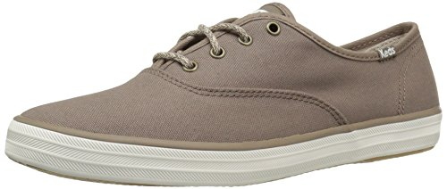 Keds Champion Canvas Sneaker (Keds Women's Champion Seasonal Solid Fashion Sneaker, Dark Taupe, 6 M US)