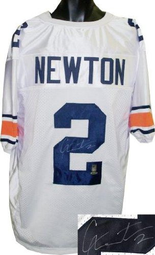 detailed look 52660 8ef89 Signed Cam Newton Jersey - White Custom Stitched College ...