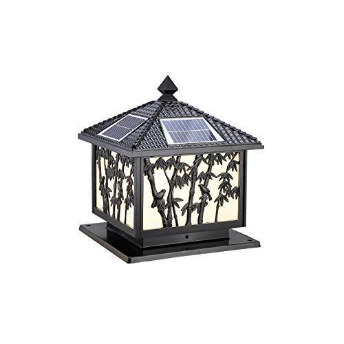 (Aiqiyi IP54 Outdoor Waterproof LED Solar Pillar Lamp European Creative Bamboo Glass Lantern Column Lamp Aluminum Cast Metal Retro Courtyard Gate Wall Post Light (Color : Black))
