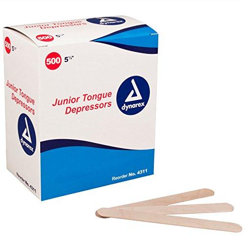 Dynarex 4311 Tongue Depressors, Junior Sized , Box, 5000, Depressors, Wood, 5.5