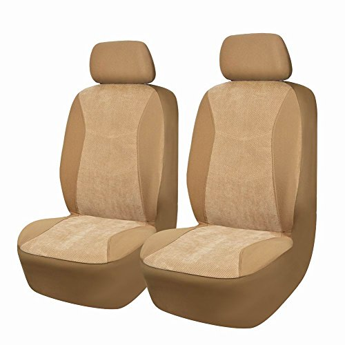 Flying Banner 4 Piece Warm Corduroy Front Car Seat Covers Durable Seat Covers for Suv,Airbag Compatible(Beige) (Car Seat Warmer Gray Color)