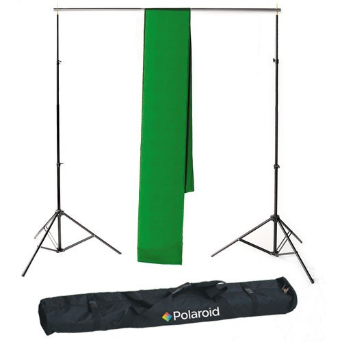 Polaroid Pro Studio Telescopic Background Stand Backdrop Support System Includes Deluxe Carrying Case + Polaroid Pro Studio Green Chroma-Key Premium Muslin Backdrop (10' x 16.5') AMZ-PLSEBGKIT2