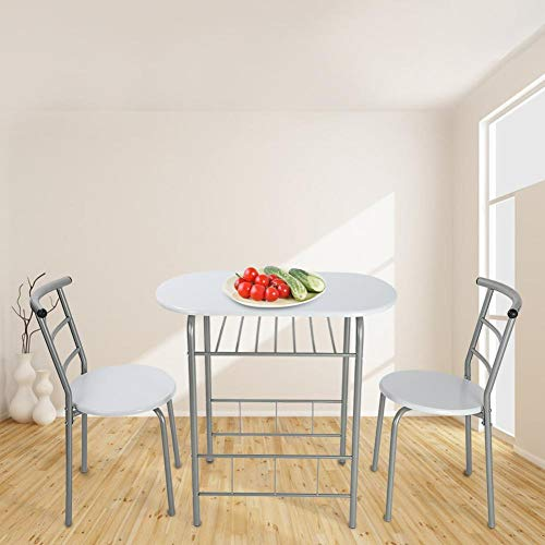 Yosooo 3 Piece Compact Dining Set Table and 2 Matching Chairs with Shelf Storage for Apartment and Kitchen