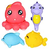Entireface 4PCS Baby Bathing Toys Set Kids Wash Play Cartoon Animal Toy Educational Intelligence Toys For Baby Toddlers