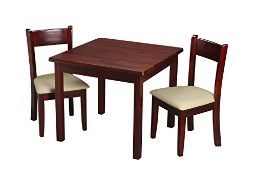 Gift Mark Children's Square Table with 2 Matching Off White Upholstered Chairs and Seat Cushion, Cherry