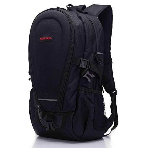 Ohmotor Waterproof Men's Laptop Backpacks Computer Rucksack Motorcycle Travel school Daily Bags for Men Women (Black-2)