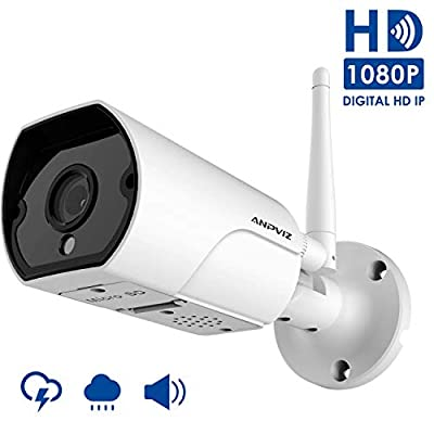 1080P Wireless Security Camera Outdoor, WiFi Camera Bullet Weatherproof Indoor and Outdoor, 2 Way Audio, Support 128G Micro SD Card (not Included), Come with Power Adapter by Anpviz