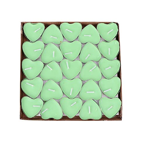 Price comparison product image KathShop 50Pcs / Box Heart Shape Candles for Birthday Wedding Party Home Decoration Gift
