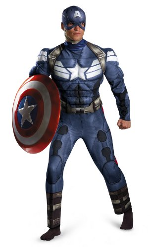 Disguise Men's Marvel Movie 2 Captain America Classic Muscle Costume, Blue/White, XX-Large/50-52