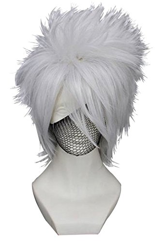 Anogol Hair Cap+Fancy Dress Silver Cosplay Men's Wig Short Layered Wigs for -