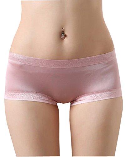 Shorts Microfiber Lace (METWAY Women's Silk Panties No Show lace silk underwear boyshort Micro-fiber Large Rubber Red)