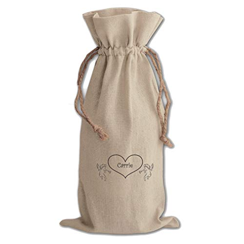 - Personalized Angels Heart Inspiration Cotton Canvas Wine Bag Cotton Drawstring