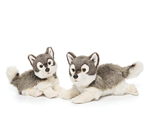 Large Wolf Friend Wispy Charcoal and White Children's Plush Stuffed Animal Toy ()