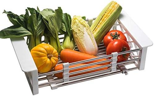 排水バスケット、キッチンラック、ステンレススチール、伸縮式シンクラック、長方形、シンク、家庭用食器棚 (Color : White)