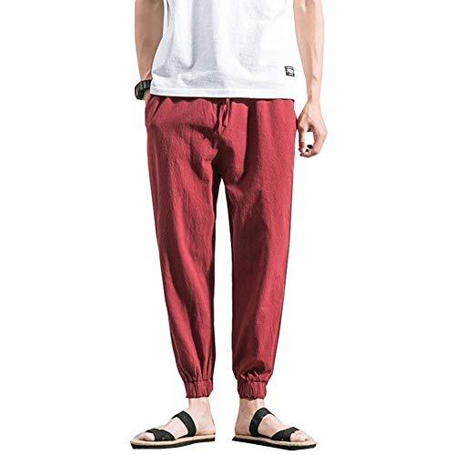 De Playa Vintage Color Rot Battercake Harén Cordón Hombres Sueltos Con Cómodo Lino Pantalones Verano Los Sólido Casuales TEwqaAr5w