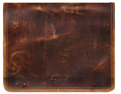Brown Leather Messenger Travel Bag for Men Women for 15