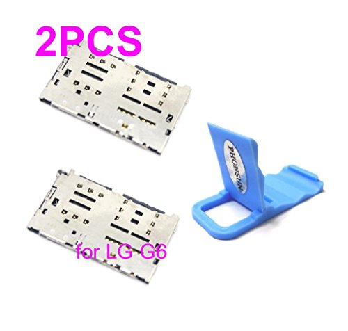 2 x SIM Card Reader Holder Micro SD Tray Slot Replacement for LG G6 H871 H872 H873 VS988 LS993 US997 + PHONSUN Portable Cellphone Holder from PHONSUN