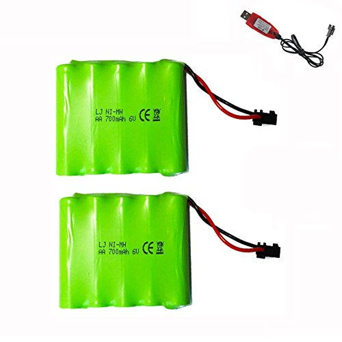 Hobby-Ace 2Pcs AA Rechargeable Battery Pack 6V 700mAh Ni-Mh Batteries SM 2P Plug Connector with USB Charging Cable, High Capacity Battery Pack Universal Spare Battery for Electric Toys Rc (15 Min Nimh Charger)