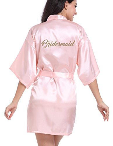 DF-deals Womens Satin Kimono Robe for Bridesmaid and Bride Wedding Party Getting Ready Short Robe with Gold Glitter
