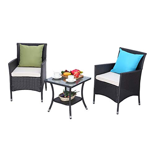 HTTH 3 Pieces Patio Porch Furniture Sets PE Rattan Wicker Chairs Washable Cushion with Tempered Glass Tabletop Porch Furniture (exp Wicker-Beige Cushion) (Rattan Contact Direct)