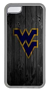 iPhone 5C Case- Crystal Clear Transparent Hard Case for iPhone 5C with Design Wood West Virginia University Blue Logo