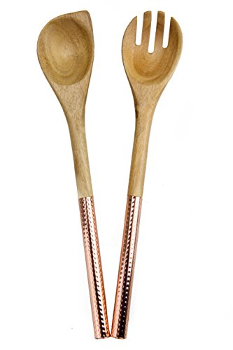 (Country Kitchen 2 Piece Salad Spoon/Fork Server Set - Acacia Wooden Heads with Rose Gold Copper Stainless Steel Handles for Serving and)