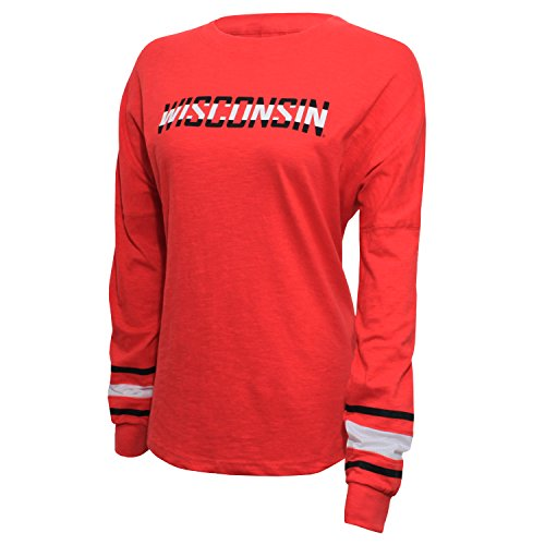 NCAA Wisconsin Badgers Women's Campus Specialties Long Sleeve Fan Tee, Small, - Striped Wisconsin Shirt