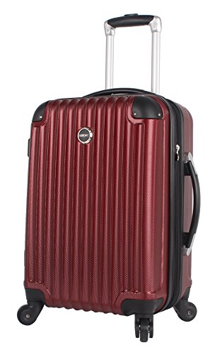 Lucas Outlander Carry On Hard Case 20 inch Expandable Rolling Suitcase With Spinner Wheels (20in, - On Luggage Burgundy Carry