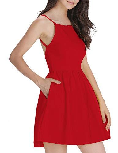 FANCYINN Women's Red Short Dress Spaghetti Strap Backless Mini Skate Dress Red S