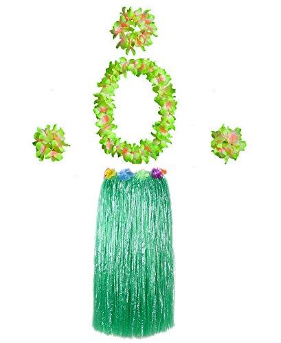 Hawaiian Luau Hula Grass Skirt Large Flower Costume Set Dance Performance Party Decorations Favors Supplies (32