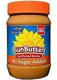 SunButter Sunflower Butter No Sugar Added Alternative to Peanut Butter, 16 oz plastic jars, Pack of 6