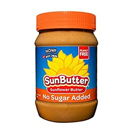 SunButter Natural No Sugar Added Sunflower Butter with hint of salt (Pack of 6) 15 Pack of 6 jars Natural, simple and delicious peanut butter alternative with 7 grams of protein per serving Free from top 8 food allergens: peanuts, tree nuts, milk, eggs, wheat, fish, shellfish and soy