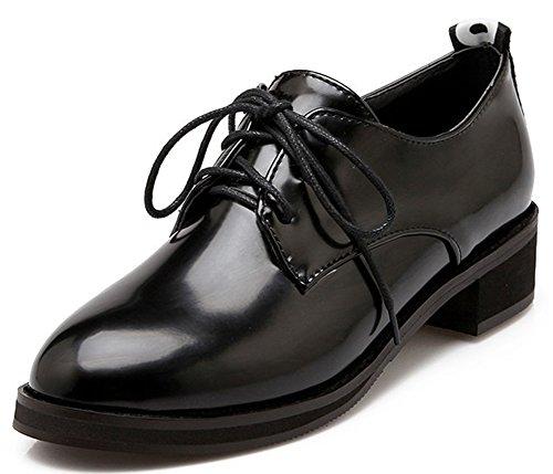 Idifu Womens Habillé Fermé Bout Rond Bas Haut Chunky Talons Lace Up Oxfords Chaussures Noir