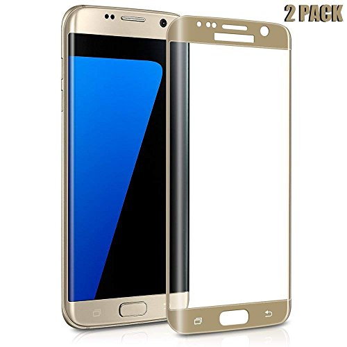 Galaxy S7 Edge Screen Protector, [2 Pack] CTREEY S7 Edge Tempered Glass Full Coverage 3D Curved HD Ultra Clear Film Anti-Scratch Anti-Bubble Screen Protector for Samsung Galaxy S7 Edge (2Pack-Gold)