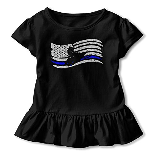 American Flag Snowmobile Rider Toddler Baby Girls' Short Sleeve Ruffle T-Shirt