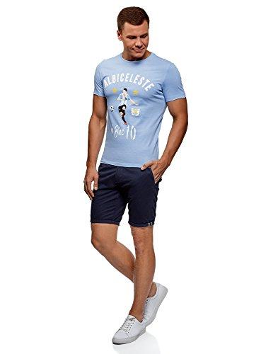 T In Cotone Blu 7010p Con Uomo Ultra Oodji Di Stampa shirt Calcio xqXEpIw