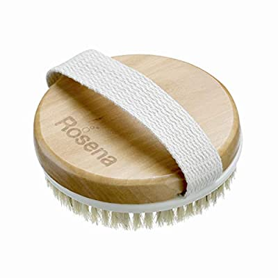 Dry Brushing Body Brush - Best for Exfoliating Dry Skin, Lymphatic Drainage and Cellulite Treatment - Organic Spa Exfoliator and Massage Scrub Brush with Natural Boar Bristles