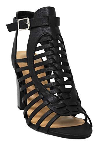 MVE Shoes Women's Ankle and Toe Open Strappy Chunky Heeled-Sandals, Black nbpu Size 6