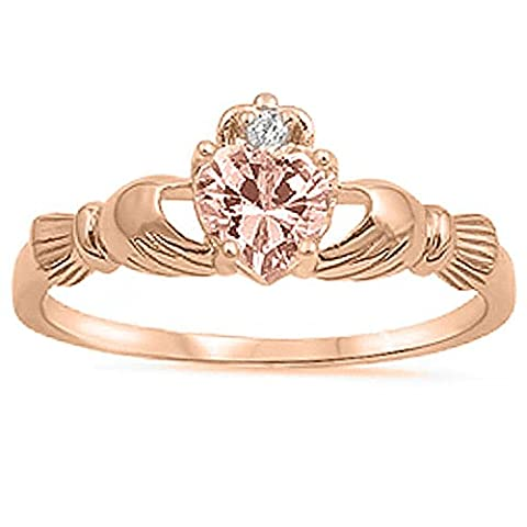 925 Sterling Silver Claddagh Ring Rose Gold Plated Heart Simulated Morganite CZ Accent Wedding Ring, (Womens Gold Claddagh Ring)
