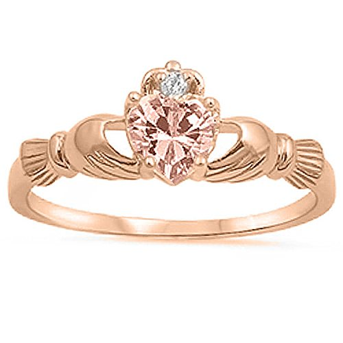 925 Sterling Silver Claddagh Ring Rose Tone Plated Heart Simulated Morganite CZ Accent Wedding Ring, Size-6