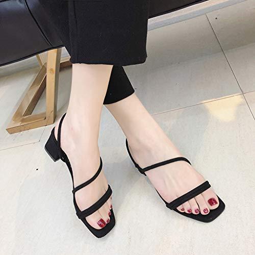 Bande Pour Talons Chaussures Élastique Ouvert Plage chaussures Bout Femmes À Femme Noir Décontractées Carrés Femme sandales Respirante tXXCHqxgw