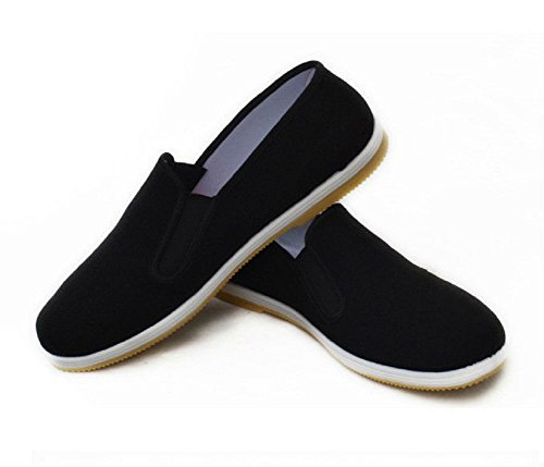 Different Touch Martial Art Slip on Comfy Rubber Sole Kung Fu Tai Chi Canvas Shoes (US : Men 11 - Women 12.5)