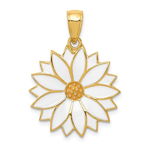 ICE CARATS 14kt Yellow Gold Enameled White Daisy Flower Pendant Charm Necklace Gardening Fine Jewelry Ideal Gifts For Women Gift Set From - Daisy Enameled Gold