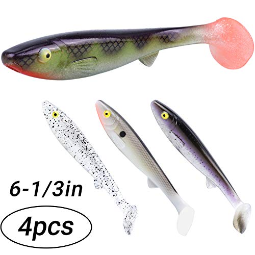 (RUNCL Anchor Box - Swimbaits Paddle Tail, Saltwater Fishing Lures 6-1/3in- Lifelike Scales & Gills, 3D Lifelike Eyes, Boot Tail, Proven Colors - Freshwater & Saltwater Fishing (Pack of 4))