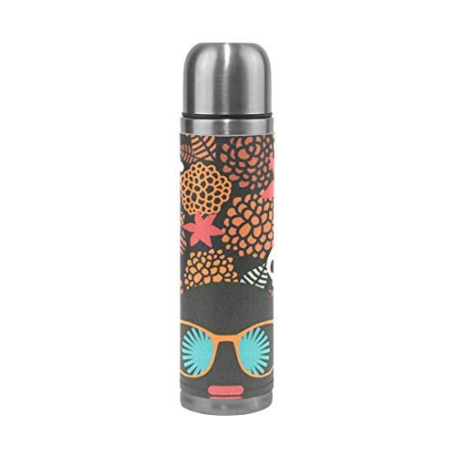 Thermos Halloween Skull Cycling Insulated Stainless Steel Water Bottle Leak Proof Thermos Leather Cover 17 -