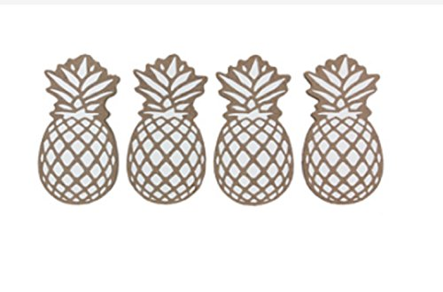 Youngs Wood Set of 4 Pineapple Coaster Serveware, brown and white
