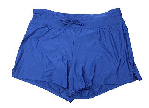 24th & Ocean Women's Tie Front Draw String Solid Color Swim Shorts (Medium, Navy)