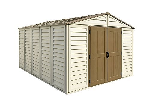 Duramax 40234 Woodbridge Vinyl Storage Shed, 10-11/16'W x 13-5/16'D x 7-5/8'H, Includes Foundation, Lot of 1 Duramax Vinyl Outdoor Shed