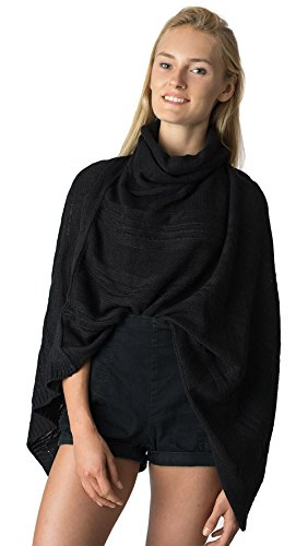 LL- Black Cowl Short Open Knit Asymmetric Pullover Sweater Poncho Top Tunic with Loose Turtleneck and Fringe
